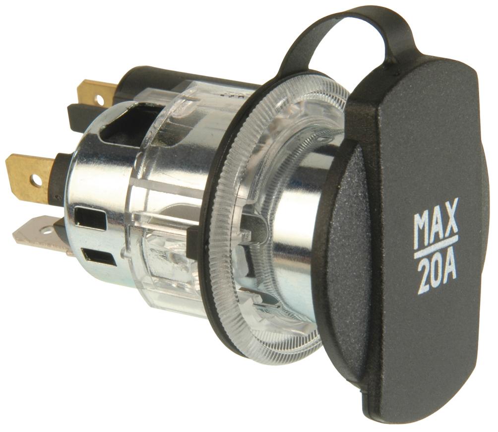 Power socket with clamp sleeve illuminated
