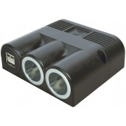 Suface mounted triple socket with 2 power sockets and 1 power double USB socket